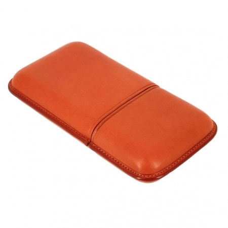 Etui 3 cigares Corona cuir orange