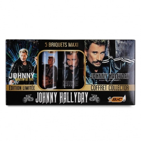 Coffret Collector 5 Briquets Bic Maxi Johnny Hallyday