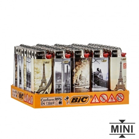 50 briquets Bic mini à pierre Retro Paris