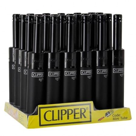 Briquet Clipper Mini Tube Soft Touch Noir x 24