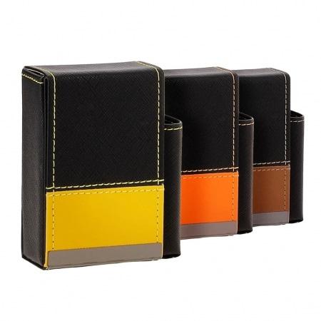 Etui paquet cigarette et briquet simili cuir bande bicolore