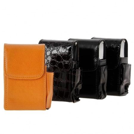 Etui paquet cigarette et briquet simili cuir et métal