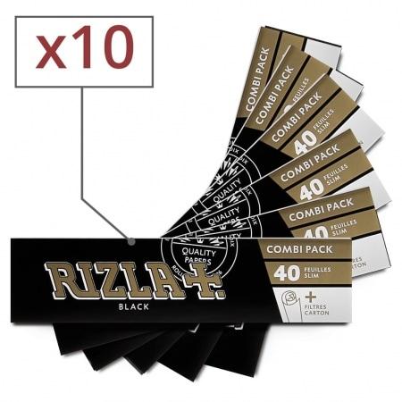 Papier à rouler Rizla + Black Slim et Tips x10