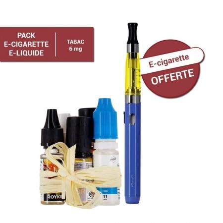 Pack e-cigarette e-liquide 6 mg Tabac