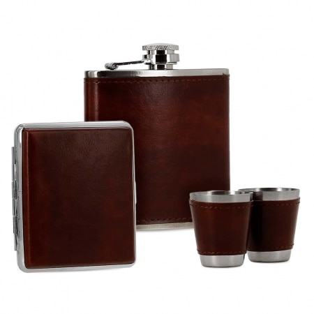 Coffret Flasque Alcool Etui Cigarette Simili Cuir Marron