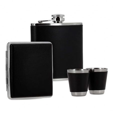 Coffret Flasque Alcool Etui Cigarette Simili Cuir Noir