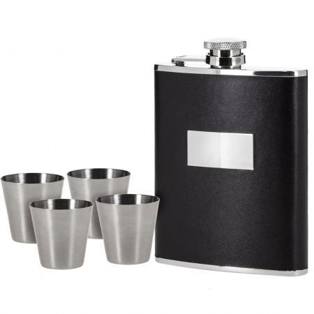 Coffret Flasque Alcool Inox Gainé Cuir Noir