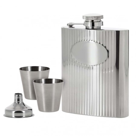 Coffret Flasque Alcool Inox Guilloché