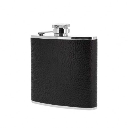 Flasque Alcool Inox Cuir Grainé Noir