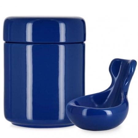 Pot à tabac et Porte Pipe Céramique Bleu