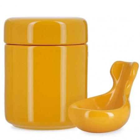 Pot à tabac et Porte Pipe Céramique Jaune