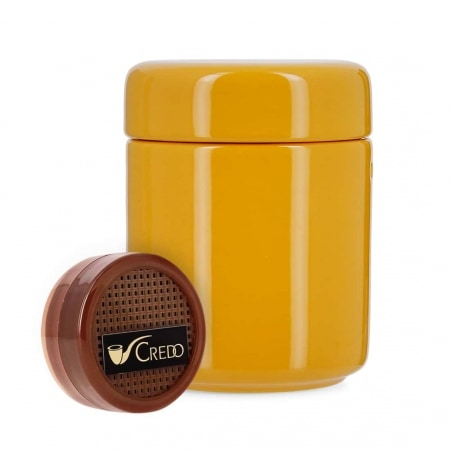 Pot à tabac Céramique Jaune et Humidificateur Crédo