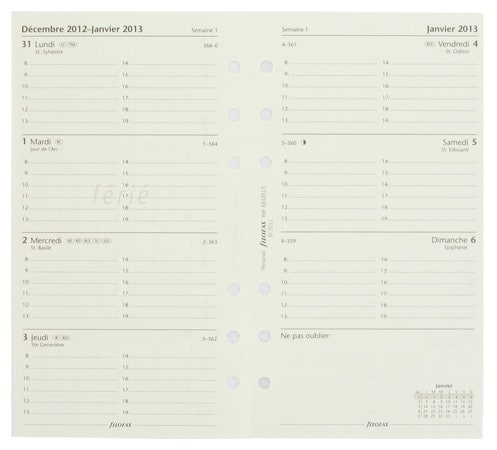 Recharge Filofax Personal Cotton Cream 2014