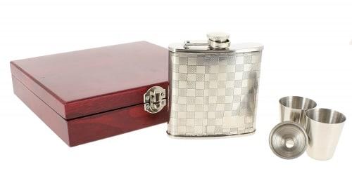 Coffret Flasque à alcool Damier avec accessoires