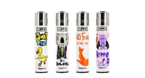Briquet Clipper Animal Puns lot de 4