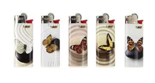 5 briquets Bic mini à pierre papillons
