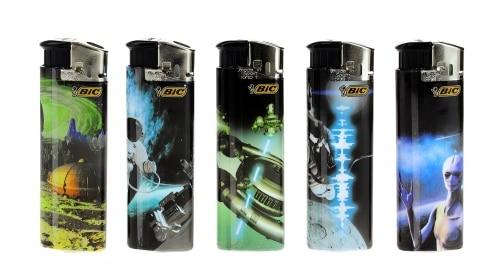 5 briquets Bic Maxi electronic Cosmos