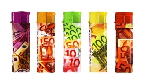 50 Briquets jetables Atomic Billets Euros