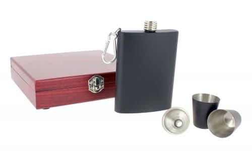 Coffret Flasque à alcool Noir mat avec accessoires