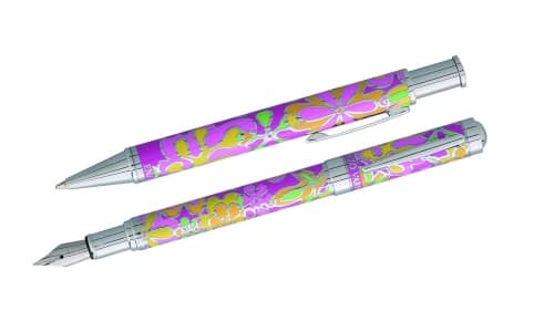 Parure stylo Enzo Varini Fleurie Rose