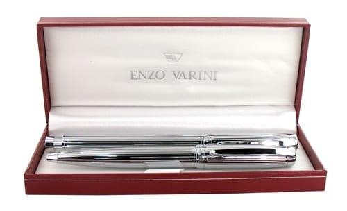 Parure stylo Enzo Varini Castello Chromé Godrons