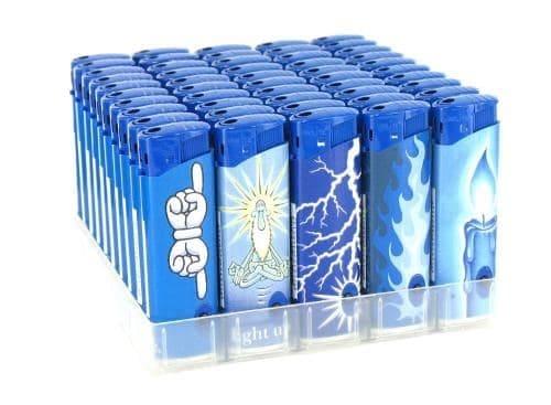 50 Briquets Unilite Electroniques Led Bleue