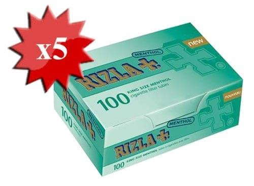 Boite de 100 tubes Rizla+ Menthe avec filtre x5