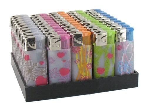 50 Briquets Electroniques Mini Transparent Fleur