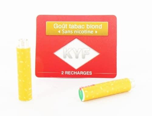 2 Recharges Goût Tabac blond sans nicotine Cigarette KYF