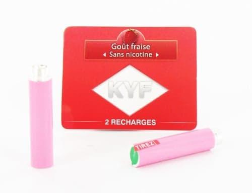 2 Recharges roses Goût Fraise sans nicotine Cigarette KYF