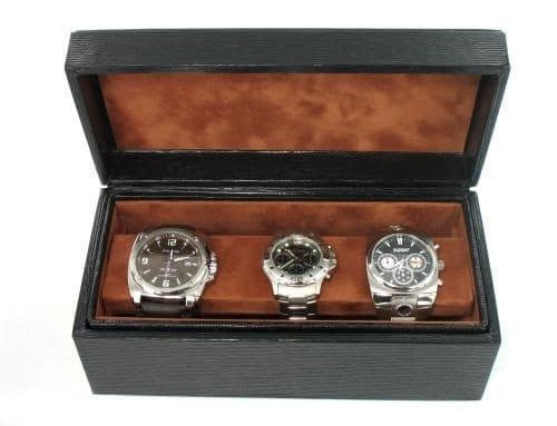 Boite 3 montres Gainée Epi Noir