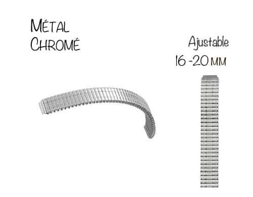 Bracelet Montre Métal Extensible Ajustable 16 à 20mm