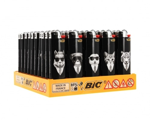 50 briquets Bic maxi à pierre Cool Animals