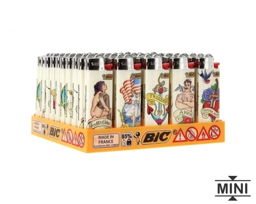 50 briquets Bic mini à pierre Tatoo