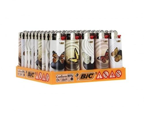 50 briquets Bic mini à pierre papillons