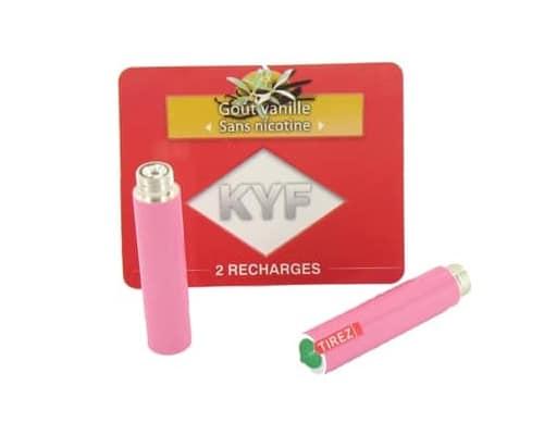 2 Recharges roses Goût Vanille sans nicotine Cigarette KYF