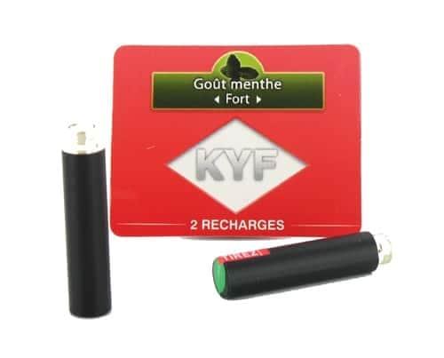 2 Recharges noires Goût Menthe nicotine fort Cigarette KYF