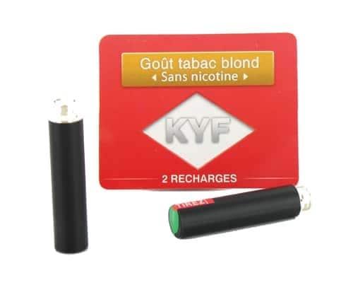 2 Recharges noires Goût Tabac blond sans nicotine Cigarette KYF