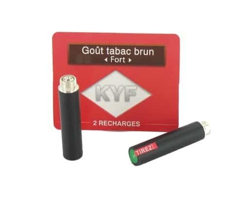 2 Recharges noires Goût Tabac Brun nicotine fort Cigarette KYF