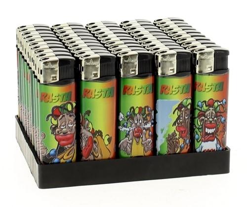 50 Briquets Electroniques Plats Rasta