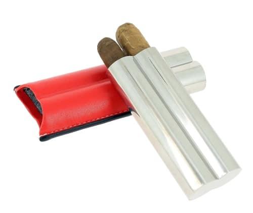Etui 2 cigares Acier Poli Cuir Rouge