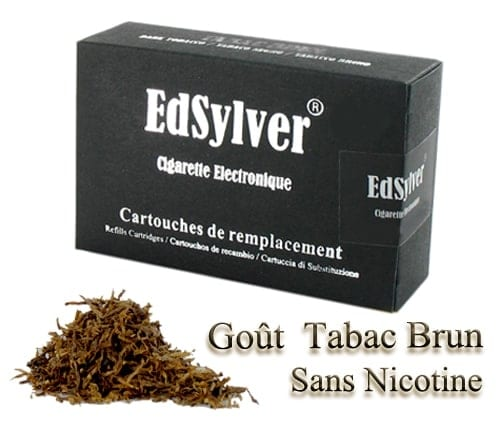 5 Recharges Goût Tabac Brun sans nicotine Cigarette Edsylver