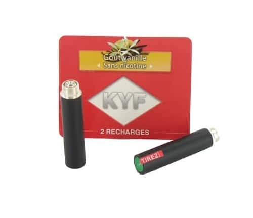 2 Recharges noires Goût Vanille sans nicotine Cigarette KYF